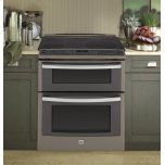 """GE ProfileGE PROFILE Series 30"""" Slide-In Front Control Double Oven Electric Convection Range"""