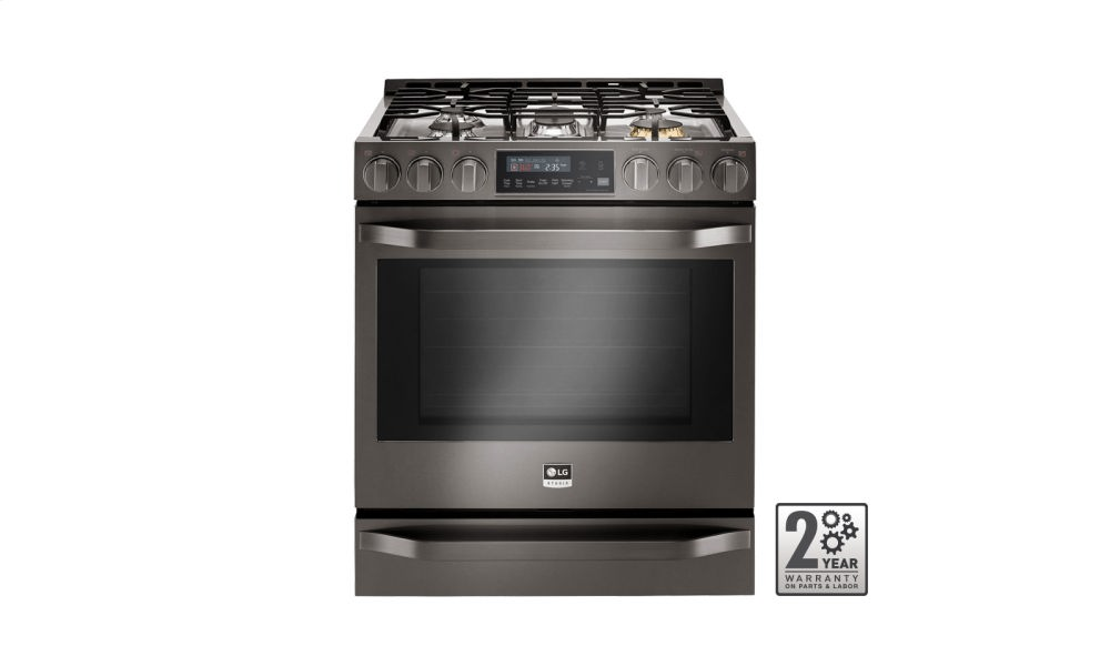 LG STUDIO - 6.3 Gas Slide-In-range with ProBake Convection(R)  Black Stainless Steel