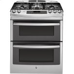 "GE ProfileGE PROFILE Series 30"" Slide-In Front Control Double Oven Gas Range"