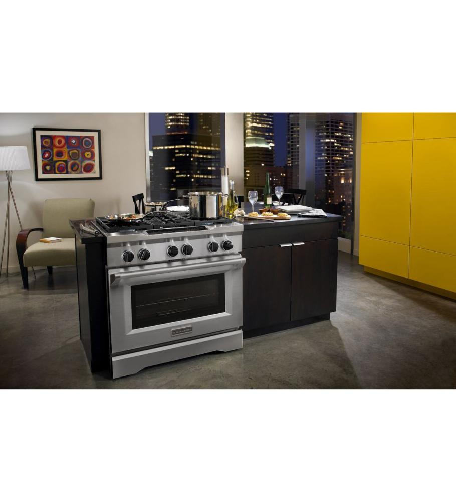 Kdrs467vss kitchenaid 36 inch 6 burner dual fuel freestanding range commercial style - Kitchenaid inch dual fuel range ...