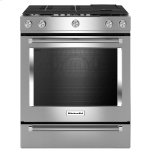 Kitchenaid30-Inch 5 Burner Gas Convection Slide-In Range with Baking Drawer - Stainless Steel