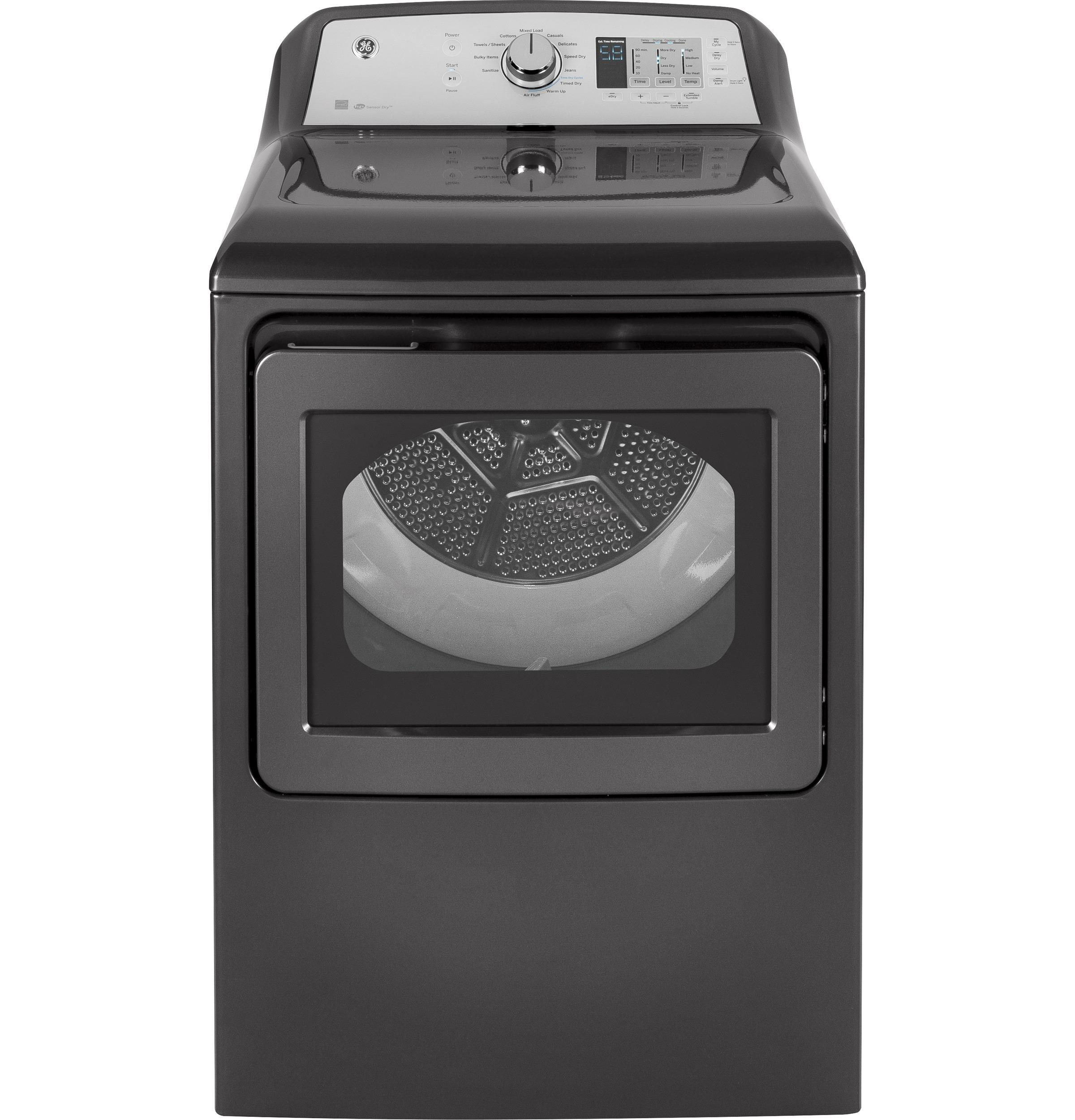 GE(R) 7.4 cu. ft. capacity aluminized alloy drum electric dryer with HE Sensor Dry
