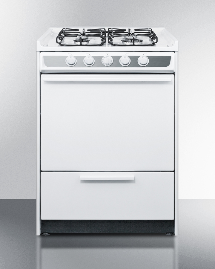 "24"" Wide Slide-in Gas Range In White With Sealed Burners and Electronic Ignition; Replaces Wnm616r"