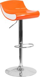 Contemporary Orange and White Adjustable Height Plastic Barstool with Chrome Base Product Image