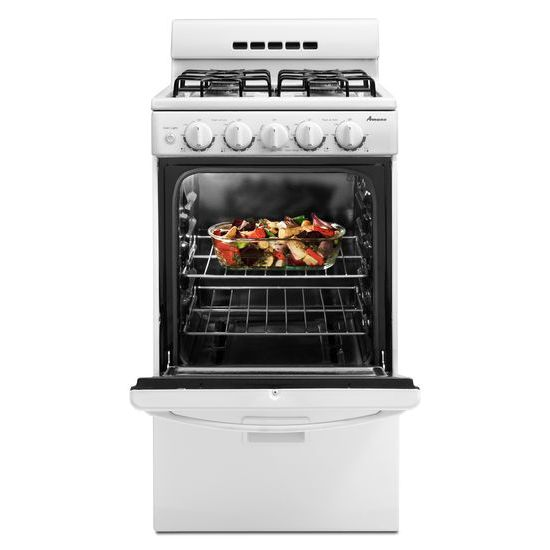 20-inch Gas Range with Compact Oven Capacity - white  white