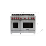 """Wolf•Automatic Reignition •Infrared Charbroiler •Continuous Cast-Iron Grates •2.5/4.4 Cu Ft Oven Capacities •Optional 5"""", 10"""" and 20"""" Stainless Steel Risers"""