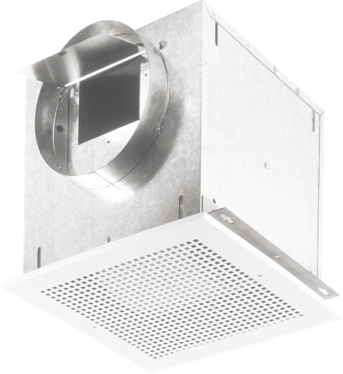 Ceiling Mount Ventilator, High Capacity, 115 CFM Horizontal/Vertical, 0.9 Sones. Metal grille. 6