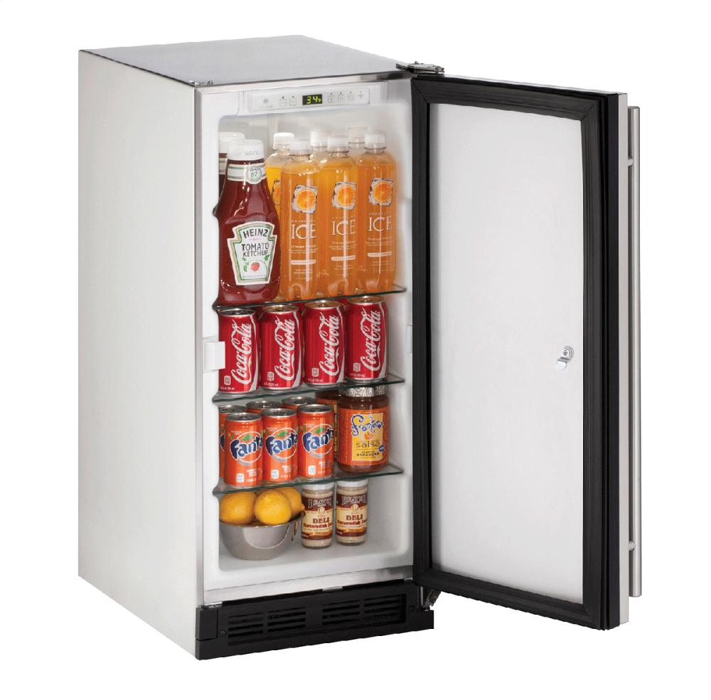 """Outdoor Series 15"""" Outdoor Refrigerator With Stainless Solid (lock) Finish and Field Reversible Door Swing  Stainless Solid"""