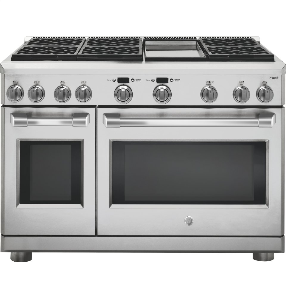 "GE Cafe(TM) Series 48"" Dual-Fuel Professional Range with 6 Burners and Griddle (Natural Gas)