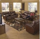 In Stock Extra Wide Reclining Loveseat with Console in Godiva Product Image
