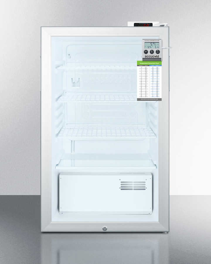 "20"" Wide Glass Door All-refrigerator for Built-in Use, With Digital Thermostat, Internal Fan, Lock, Temperature Alarm, and Hospital Grade Plug"