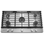 Kitchenaid36'' Gas Cooktop, 5 Sealed Burners, 20,000 BTU professional dual-ring burner, Even-Heat 6,000 BTU simmer burner, Continuous cast-iron grates, Metal control knobs - Stainless Steel