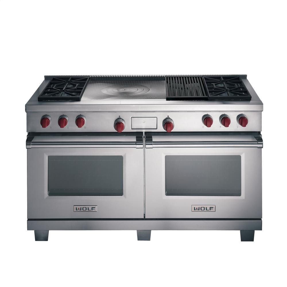Contemporary range from wolf model 4 burners griddle - 60 Quot Dual Fuel Dual Oven Range 4 Burners Griddle French Top