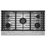 Kitchenaid36'' Gas Cooktop, 5 Sealed Burners, Even-Heat 10,000 BTU torch burner, Even-Heat 6,000 BTU simmer burner, Professional dual-ring burner, Griddle, Continuous cast-iron grates, Lighted knob controls - Stainless Steel