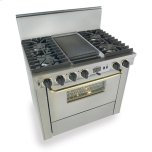 "Five Star36"" Dual Fuel, Convect, Self-Clean, Sealed Burners, Stainless Steel with Brass Trim"