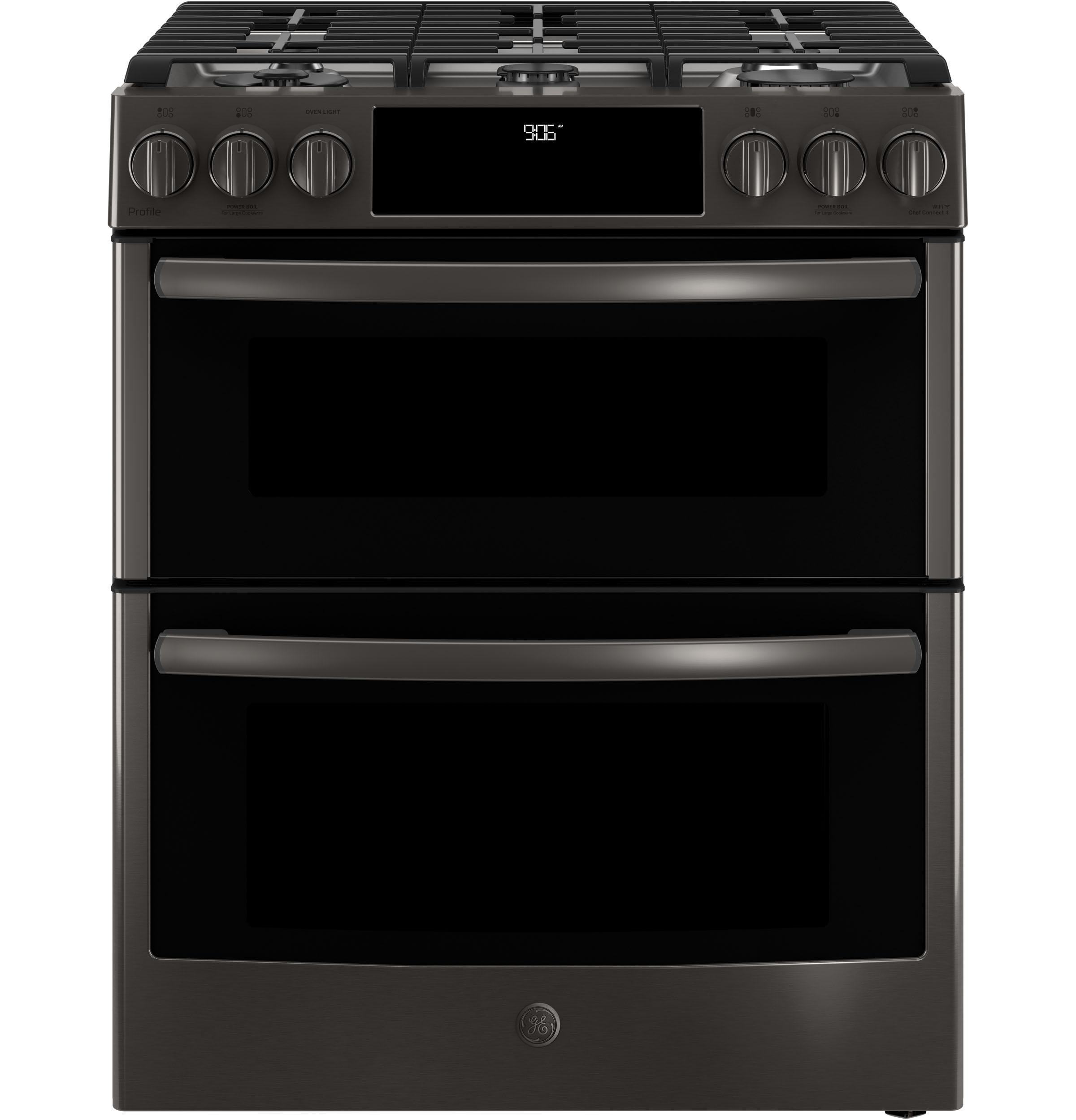 """GE Profile(TM) Series 30"""" Slide-In Front Control Gas Double Oven Convection Range  Black Stainless"""