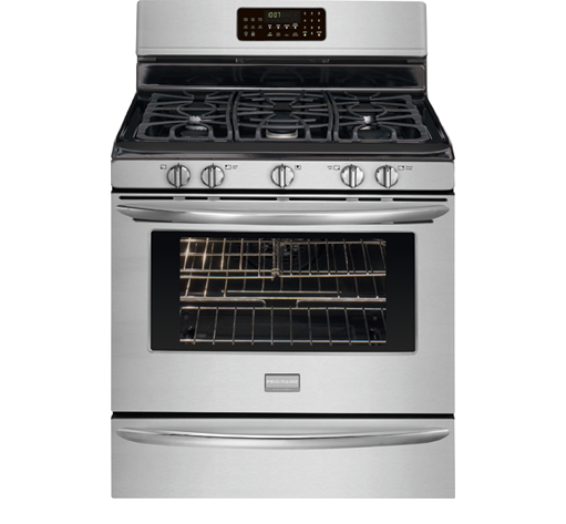 frigidaire gas stove fggf3054mf Frigidaire fggf3054mf gallery series 30 inch wide freestanding gas range with 5 sealed burners, 50 cu ft oven capacity, true convection oven, self-clean, storage drawer in smudge-proof stainless steel.