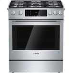 BoschBENCHMARK SERIES30'' Full-depth Dual Fuel Slide-in Range, 5 Sealed Burners, 20,000 BTU Center Burner, Warming Drawer, 4.6 Cu. Ft. Oven capacity, European Convection Oven - Stainless Steel