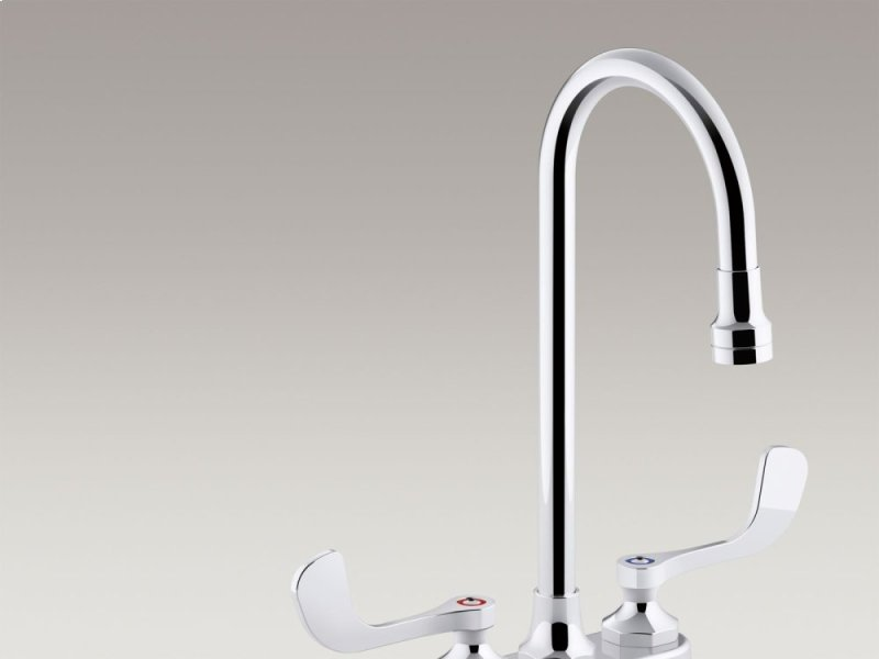 Hidden Additional Polished Chrome 10 Gpm Centerset Bathroom Sink Faucet With Aerated Flow Gooseneck Spout And