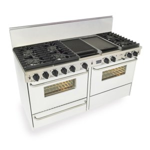 "Five Star 60"" Dual Fuel, Convect, Self Clean, Sealed Burners, White"
