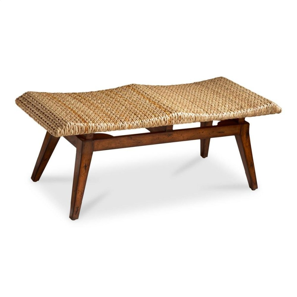 With the comfort and beauty of natural grace, this woven bench feels like your favorite spa everyday! Ideal for entryway or bedroom, this also provides extra seating for dining or visiting. Made of selected solid woods and wood products. Foam seat cushi