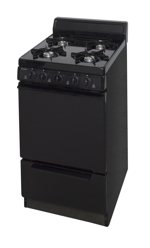 20 in. Freestanding Battery-Generated Spark Ignition Gas Range in Black  Black