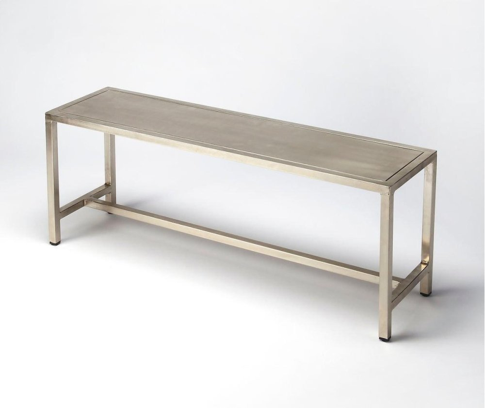 With a minimalistic feel that is clean and smart, this sleek bench embodies a light, streamlined design. Crafted with iron and poslished to resemble a brushed nickle finish, this bench can be used in entryways, in a minimalist modern kitchen or anywhere y