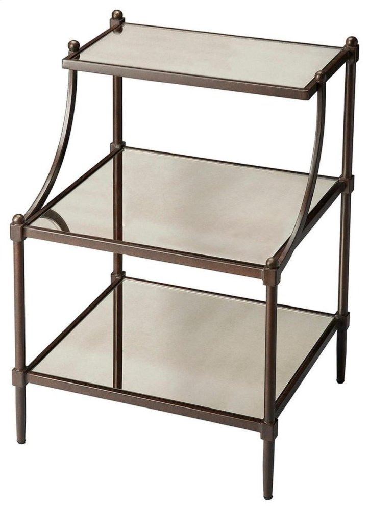 Transitional-styled table with a metal frame construction. Frame is finished in a light bronze tone with antiqued mirror shelves on each tier.