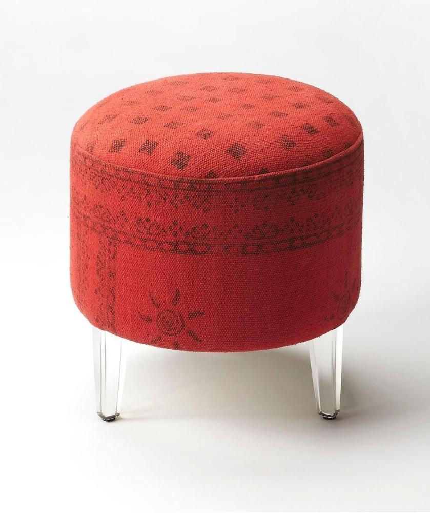 Add a pop of style to your living room or master suite with this chic ottoman. Featuring a modern bohemian aesthetic, it is hand crafted from mango solids, acrylic, urethane foam, canvas.