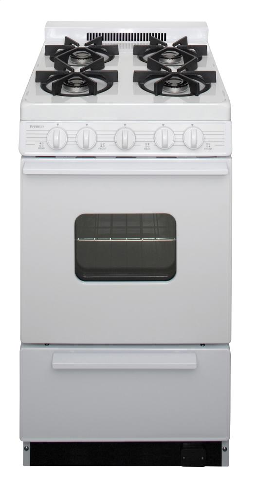 20 in. Freestanding Battery-Generated Spark Ignition Gas Range in White  White