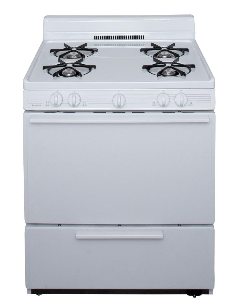 30 in. Freestanding Battery-Generated Spark Ignition Gas Range in White  White