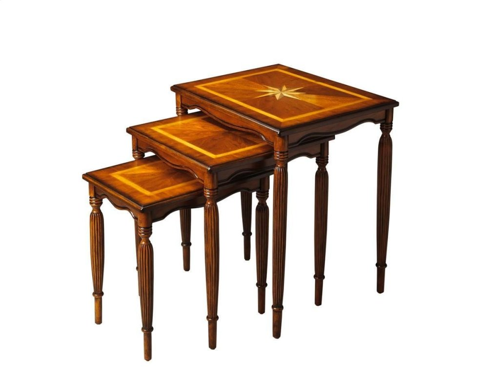 When three is better than one, this elegant Nest of Tables may be just what you need. All three tables feature beautifully carved legs, matched cherry veneer tops with maple veneer inset borders and our Olive Ash Burl finish. The largest table also showca