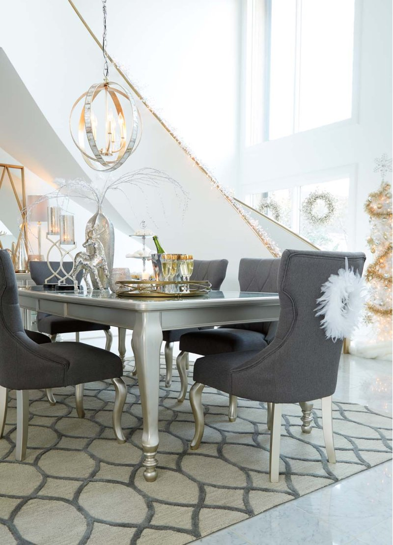 d650d1 in by ashley furniture in orange ca coralayne silver hidden additional coralayne silver finish 5 piece dining room set