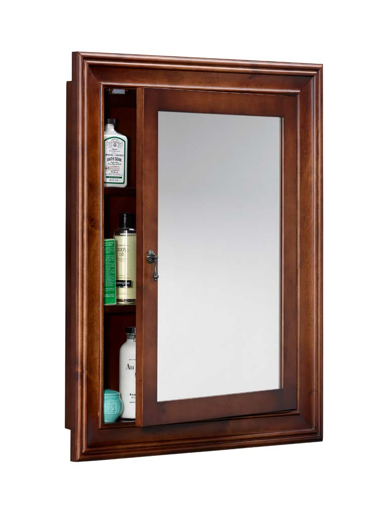 Traditional Solid Wood Framed Medicine Cabinet in Colonial Cherry  Colonial Cherry