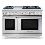 American Range�Innovection® System with Convection Fan �Inconel® Infrared Broiler �Front Panel Switch Controls Oven Lighting �Blue LED Function Lights �Extra-Large Viewing Window