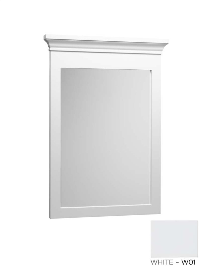 White Wood Bathroom Mirror -  wood framed bathroom mirror in white hidden product