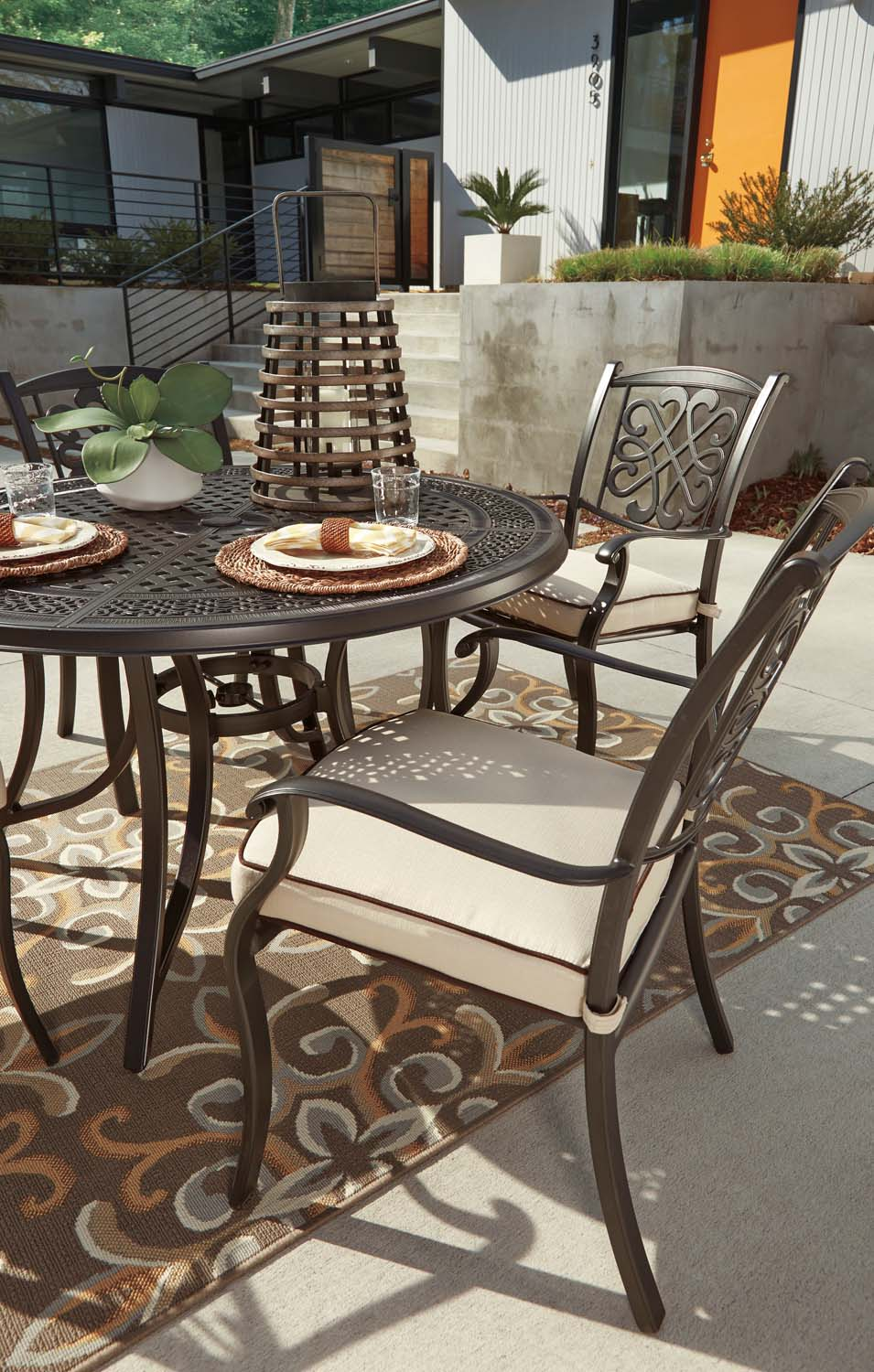 Burnella   Beige/Brown 2 Piece Patio Set