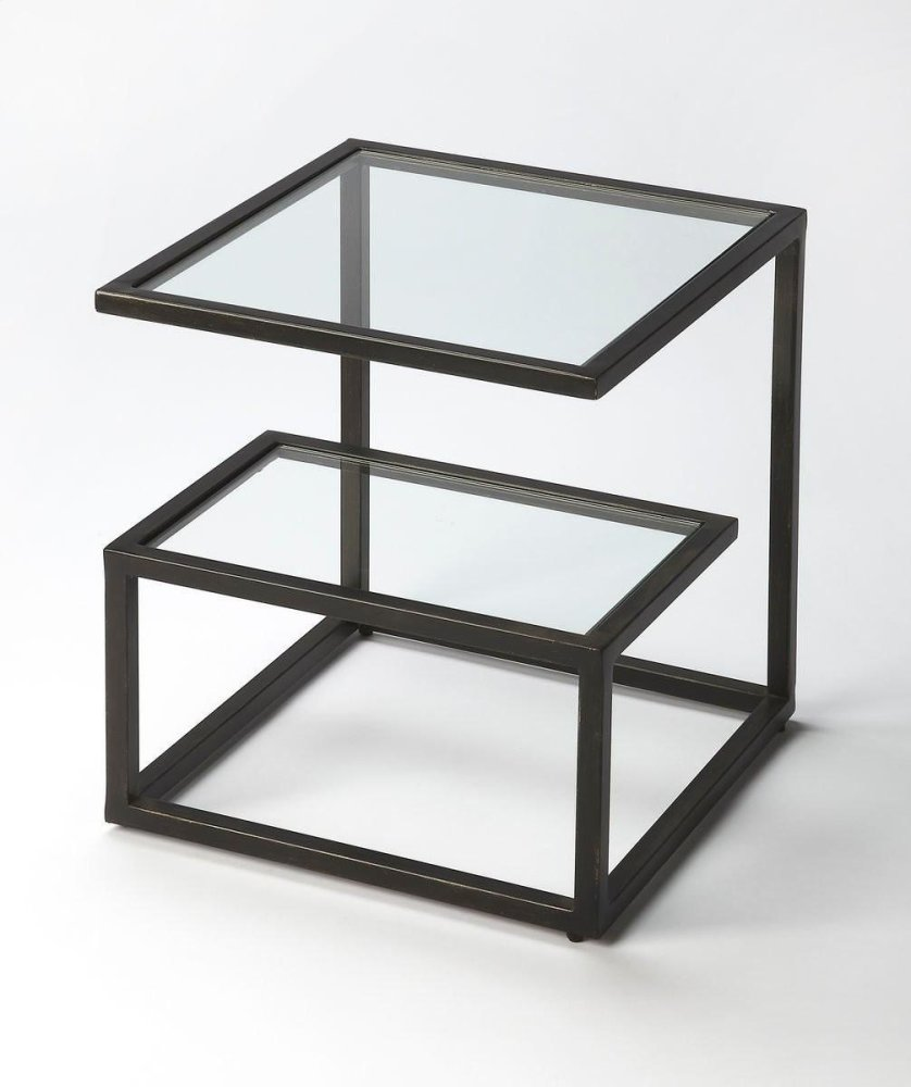 This Bunching Table, crafted from cast aluminum with a slate black finish, features an upper and lower glass top plus mesmerizing geometric shapes, especially when two or more are gathered together. You see, the table works well alone but, cliqueish by na