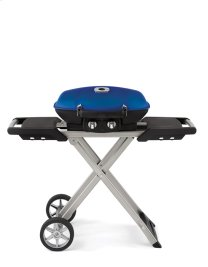 Blue TravelQ portable grill on scissor stand