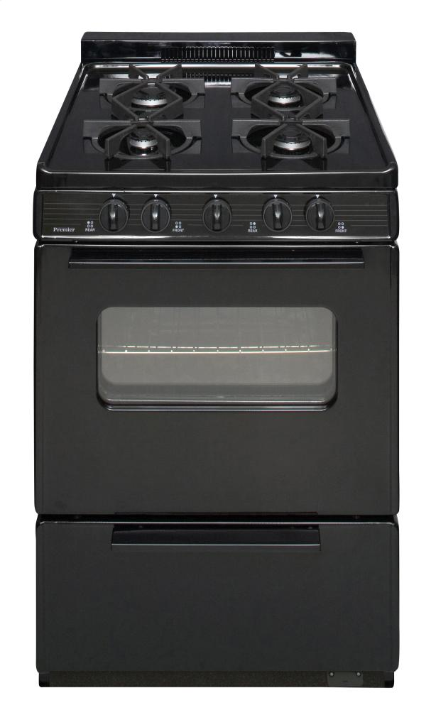 24 in. Freestanding Battery-Generated Spark Ignition Gas Range in Black  Black
