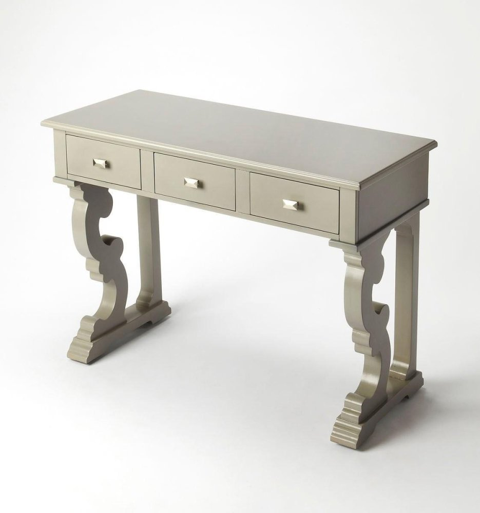 Try stocking this wood piece with bottles and glassware to create a stately home bar, or let it show off your latest antique finds and family photos in the library.Three drawers for extra concealed storage have square shape nickel finish knobs that furthe