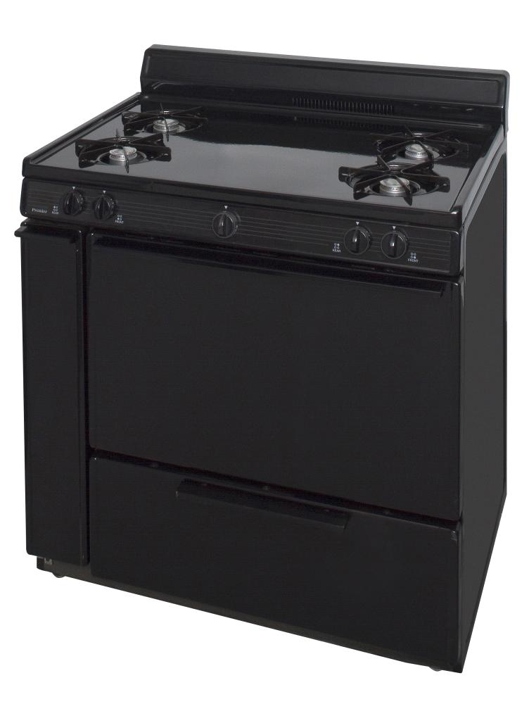36 in. Freestanding Battery-Generated Spark Ignition Gas Range in Black  Black