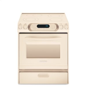 KitchenAid30 in. Width 4 Elements Warming Drawer Ceramic Glass Cooktop True Convection Oven CleanBake™ Architect® Series Electric Slide-In Range(Pure Biscuit)