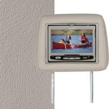 Dual Custom Headrest System with Built-in DVD Player. Cadillac Escalade, Escalade EXT (No Logo), Color is Shale.