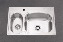 Large/Small Double Bowl 1 Faucet Hole Standard Series Double Bowl Top-Mount(Deck Silk/Bowl Silk)