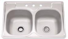 "Bowl Sink, 9.5 Inch Depth, Whisper Quiet"", 3-Hole, Min 36 Inch Cabinet"