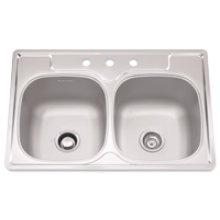 "Bowl Sink, 9.5 Inch Depth, Whisper Quiet"", 3-Hole, Min 36 Inch Cabinet"
