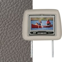 Dual Custom Headrest System with Built-in DVD Player. Dodge Ram Quad 2500-3500. The color is Khaki.