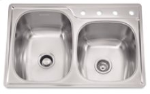 """Offset Combo Double Bowl Sink, 9.5-In Depth, Topmount Installation, Whisper Quiet"""", 4-Hole, Minimum 36-In Cabinet Size"""