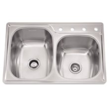 "Offset Combo Double Bowl Sink, 9.5-In Depth, Topmount Installation, Whisper Quiet"", 4-Hole, Minimum 36-In Cabinet Size"